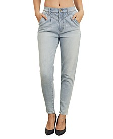 Juniors Pleated Straight-Leg Jeans