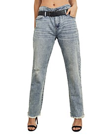 Juniors' High Rise Belted Frayed Jeans
