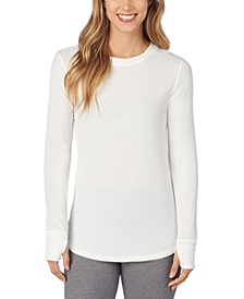 Petite Stretch Thermal Long-Sleeve Crewneck Top