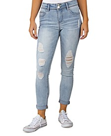 Juniors Distressed Roll Cuff Skinny Jeans