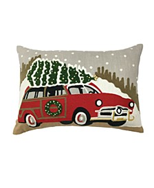 "LAST ACT! Christmas Tree Truck 14"" x 20"" Decorative Pillow, Created For Macy's"