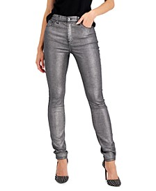 INC Metallic-Coated Skinny Ankle Jeans, Created for Macy's