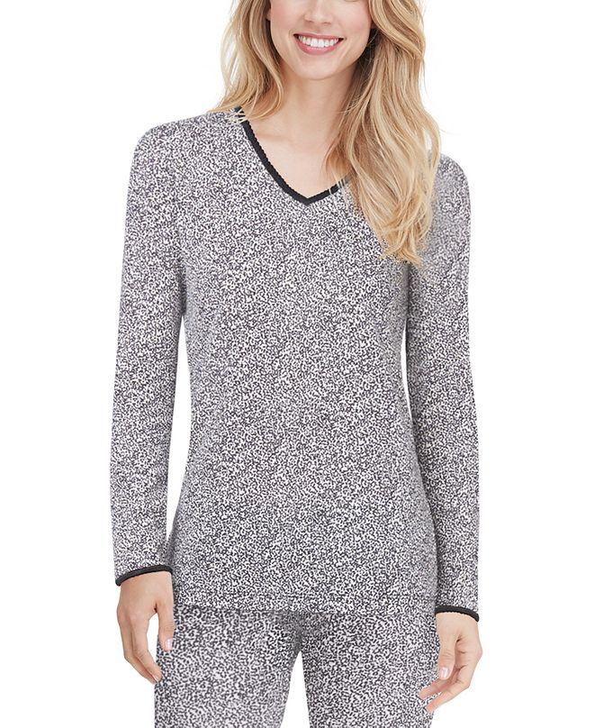 Cuddl Duds Softwear Lace-Edge V-Neck Top