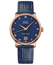 Men's Swiss Automatic Baroncelli Limited Edition Blue Leather Strap 40mm