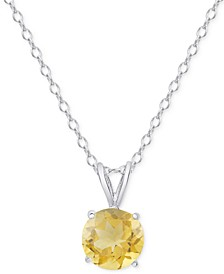 "Citrine Solitaire 18"" Pendant Necklace (1-1/3 ct. t.w.) in Sterling Silver"