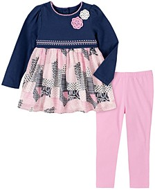 2 Piece Little Girls Knit with Patchwork Print Tunic and Legging Set