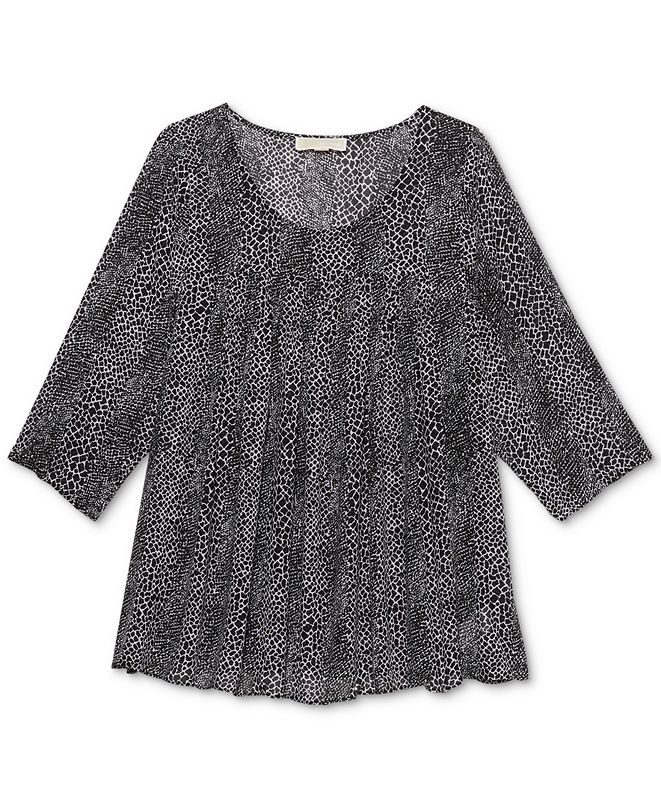 Michael Kors Plus Size Printed 3/4-Sleeve Top