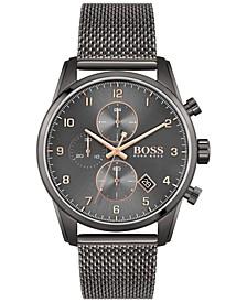 Men's Skymaster Chronograph Gray Stainless Steel Mesh Bracelet Watch 44mm