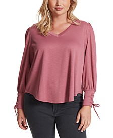 Trendy Plus Size Mercer Lace-Up-Sleeve Top