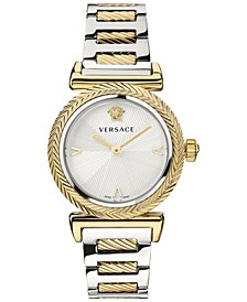 Women's Swiss V Motif Two Tone Stainless Steel Bracelet Watch 35mm
