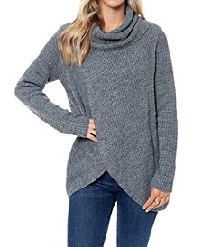 Waffle Knit Sweater with Cowl Neck