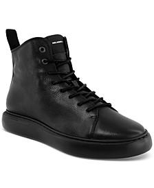 Men's Tumbled Leather Side-Zip Zip Bootie Sneakers