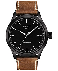 Men's Swiss Automatic Gent XL Swissmatic Brown Leather Strap Watch 43mm
