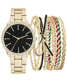 Women's Gold-Tone Bracelet Watch 34mm Gift Set