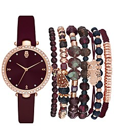 Women's Burgundy Polyurethane Strap Watch 35mm Gift Set