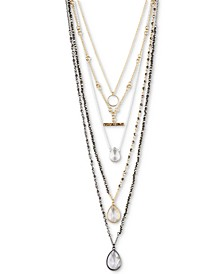 "Tri-Tone Crystal Convertible Layered Pendant Necklace, 18"" + 2"" extender"