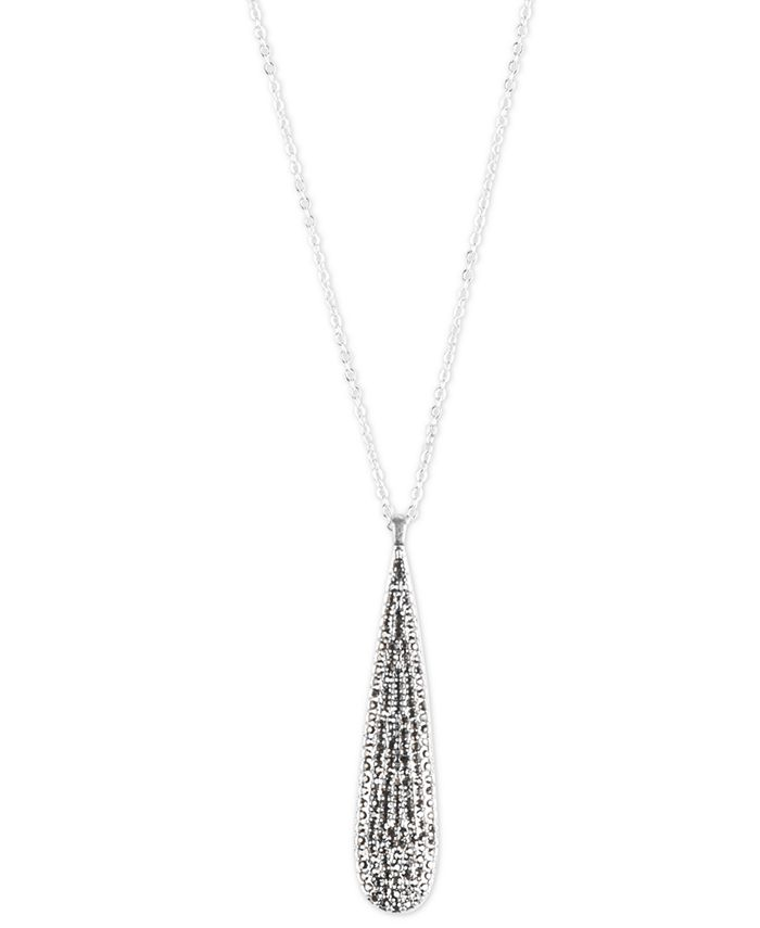 "Lucky Brand - Silver-Tone Pavé Paddle Long Pendant Necklace, 32"" + 2"" extender"