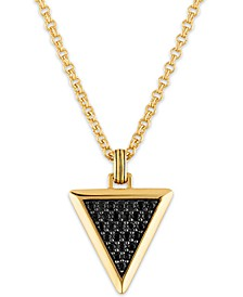 "Black Sapphire Triangle 22"" Pendant Necklace (1-3/8 ct. t.w.) in 14k Gold-Plated Sterling Silver, Created for Macy's"