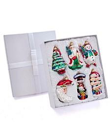 "4-5"" Noble Gems Glass Traditional Christmas Ornament, 6 Piece Set"