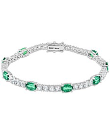 Lab-Created Emerald (6 ct. t.w.) & White Topaz (4 ct. t.w.) Link Bracelet in Sterling Silver (Also in Blue Topaz, Citrine, Lab-Created Opal, Lab-Created Blue Sapphire, Lab-Created Ruby, & Amethyst)