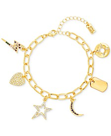 Gold-Tone Multicolor Crystal Charm Bracelet