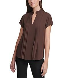 Pleated Short-Sleeve V-Neck Top