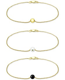 3-Pc. Set Onyx & Freshwater Pearl Bead Chain Bracelets, Created for Macy's