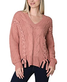 Juniors' Lace Up Sweater