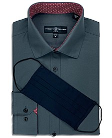Men's Slim-Fit Non-Iron Performance Stretch Solid Dress Shirt with Pleated Face Mask