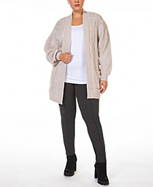 Plus Size Open-Front Cable-Knit Cardigan Sweater