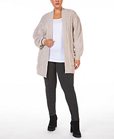 Black Tape Plus Size Open-Front Cable-Knit Cardigan Sweater