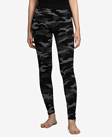 Juniors' Patterned Fleece-Lined Leggings