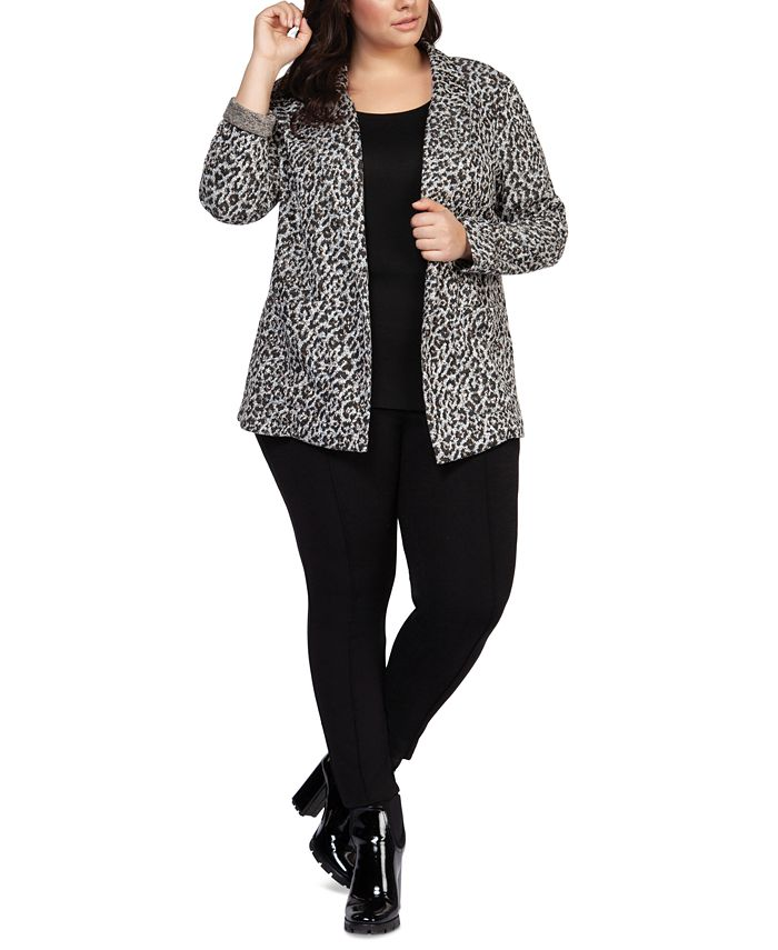 Black Tape - Plus Size Leopard-Print Open-Front Blazer