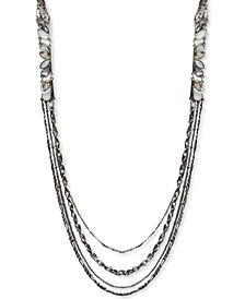 "Silver-Tone Crystal & Stone Multi-Row Statement Necklace, 28"" + 3"" extender, Created for Macy's"