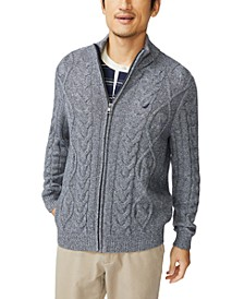 Men's Pre-Twist Cable-Knit Full-Zip Cardigan Sweater