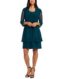 2-Pc. Embellished Mesh Jacket & Dress Set
