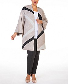 Plus Size Open-Front Colorblocked Cardigan Sweater