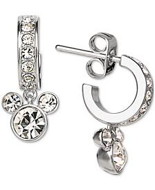 Children's Crystal Micky Mouse Dangle Hoop Earrings in Sterling Silver