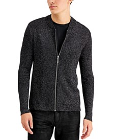 INC Men's Metallic Ribbed-Knit Full-Zip Cardigan, Created for Macy's