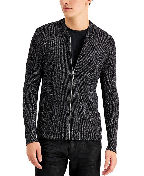 INC International Concepts INC Men's Metallic Ribbed-Knit Full-Zip Cardigan, Created for Macy's