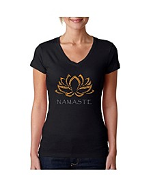 Women's V-Neck T-Shirt with Namaste Word Art