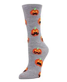 Women's Pumpkin Moustache Halloween Crew Socks