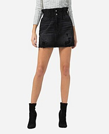 Women's Paperbag Distressed Mini Skirt