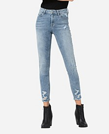 Women's Mid Rise Distressed Hem Skinny Crop Jeans