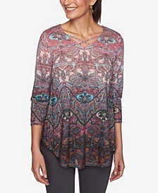 Ruby Road Women's Ombre Baroque Paisley Print Top, Regular & Petite