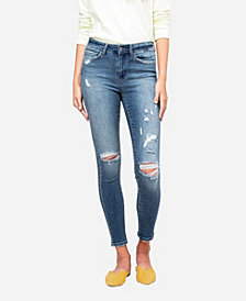 VERVET Women's Mid Rise Distressed Skinny Crop Jeans