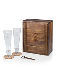 Monogram Pilsner Beer Glass Gift Set, Acacia Wood