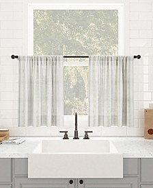 "Retro Stripe Dust Resistant Sheer Cafe Curtain Pair, 50"" x 24"""