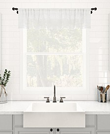 "Textured Slub Stripe Dust Resistant Sheer Cafe Curtain Valance, 52"" x 14"""