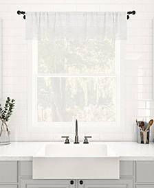 "Textured Slub Stripe Dust Resistant Sheer Cafe Curtain Valance, 52"" x 14"""